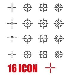 grey crosshair icon set vector image vector image