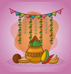 indian kalash coconut chili pepper garland vector image