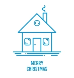 Merry Christmas concept with house and smoke in vector image vector image
