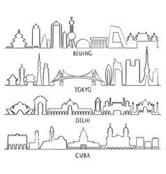 outline skyline beijing tokyo new delhi cuba vector image vector image