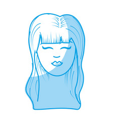 Silhouette cute woman face with hairstyle vector