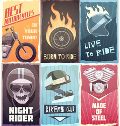 vintage biker posters collection vector image