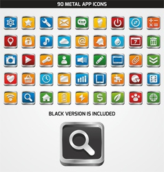 90 METAL APP ICONS vector image vector image