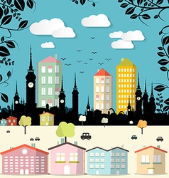 Abstract Paper Cut Flat Design City vector image vector image