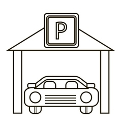Car parking icon outline style vector image