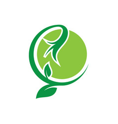 circle leaf ornament eco logo vector image vector image
