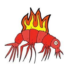 comic cartoon hot shrimp vector image vector image