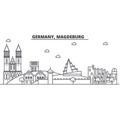 Germany magdeburg architecture line skyline vector