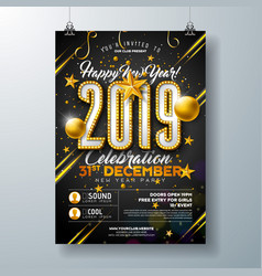 2019 new year party celebration poster template vector image