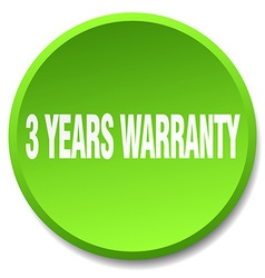 3 years warranty green round flat isolated push vector