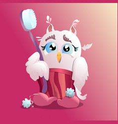 a little owl with a toothbrush in pajamas a nice vector image
