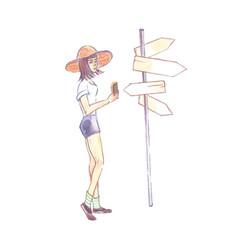 A woman near arrow pointers vector