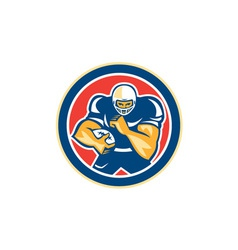 American Football Player Fend Off Circle Retro vector