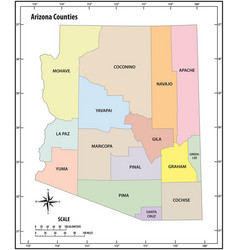 arizona state outline administrative map vector image