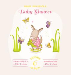 baby girl kangaroo on a horse - shower vector image