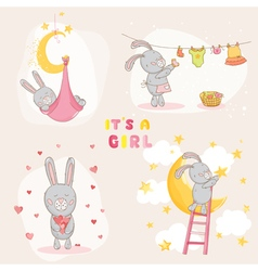 Baby shower or arrival card - with bunny vector
