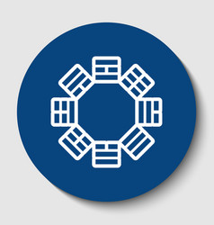 Bagua sign white contour icon in dark vector