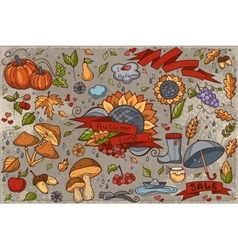 Big set of colored hand-drawn doodles on autumn vector image