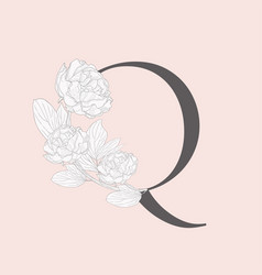 Blooming floral initial q monogram and logo vector