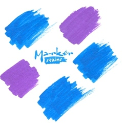 Blue and purple marker stains vector