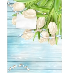 Bouquet of beautiful tulips EPS 10 vector image