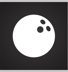 Bowling ball icon on black background for graphic vector