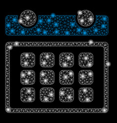 Bright mesh wire frame calendar month with light vector