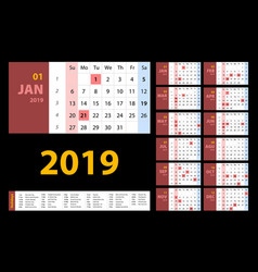 calendar 2019 red set week starts on sunday basic vector image