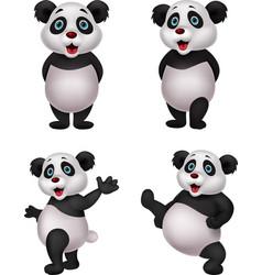 cartoon panda collection set vector image