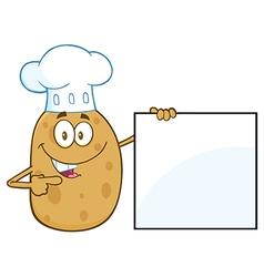 Chef Potato Cartoon Holding a Sign vector image