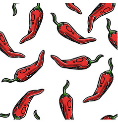 Chili pepper seamless pattern spice or vegetable vector