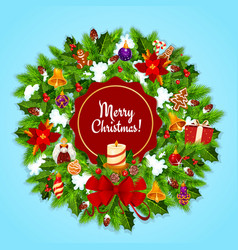 christmas wreath and candle for xmas greeting card vector image