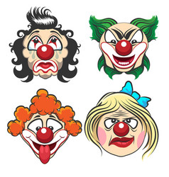 clown face set vector image