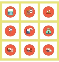 Collection of icons in flat style business items vector image