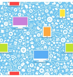 color modern gadgets and media icons vector image vector image