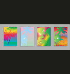 Colorful summer banners tropical backgrounds set vector