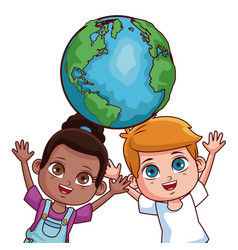 Cute kids couple cartoon vector