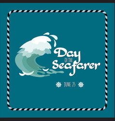 Day of the seafarer greeting card vector