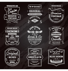 Denim typography chalkboard emblems set vector image