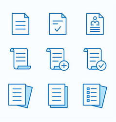 document flat line icon set vector image