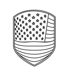 emblem of flag united states of america monochrome vector image