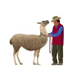 Farmer with llama vector