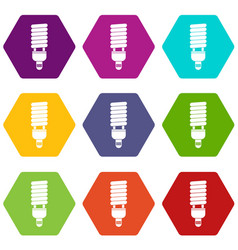 fluorescent bulb icon set color hexahedron vector image