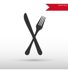 Fork and knife black icon vector image