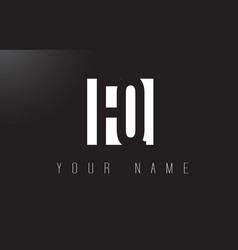 fq letter logo with black and white negative vector image