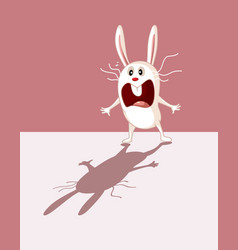 funny bunny being scared his own shadow cartoon vector image