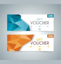 gift voucher template with poligonal design vector image
