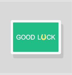 Good luck greeting card with stylized horseshoe vector