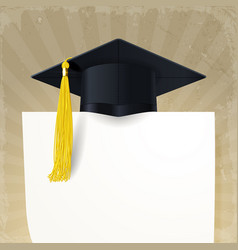 Graduate cap with a gold tassel and diploma vector