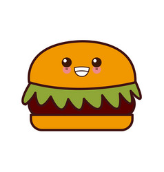 hamburger fast food kawaii cute cartoon vector image